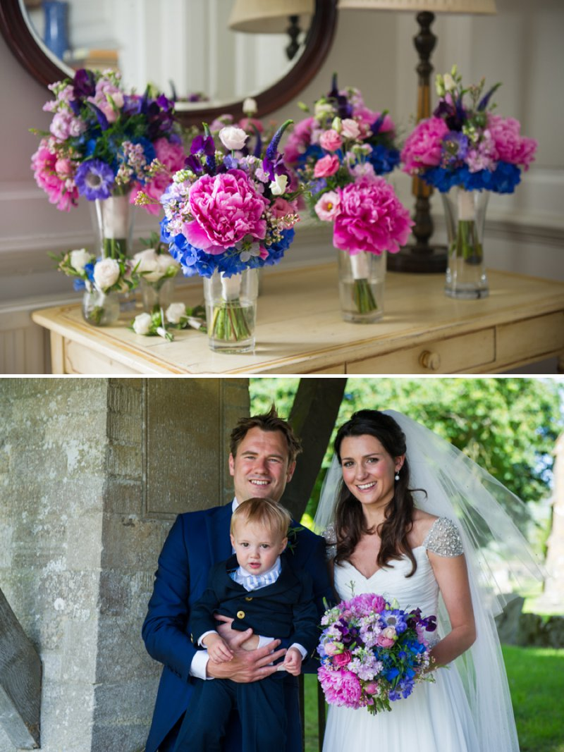 Traditional White Wedding At The Rectory In Wiltshire With Bride In Bespoke Gown And Vibrant Blue Hydrangeas And Hot Pink Peonies In Wedding Flowers 9