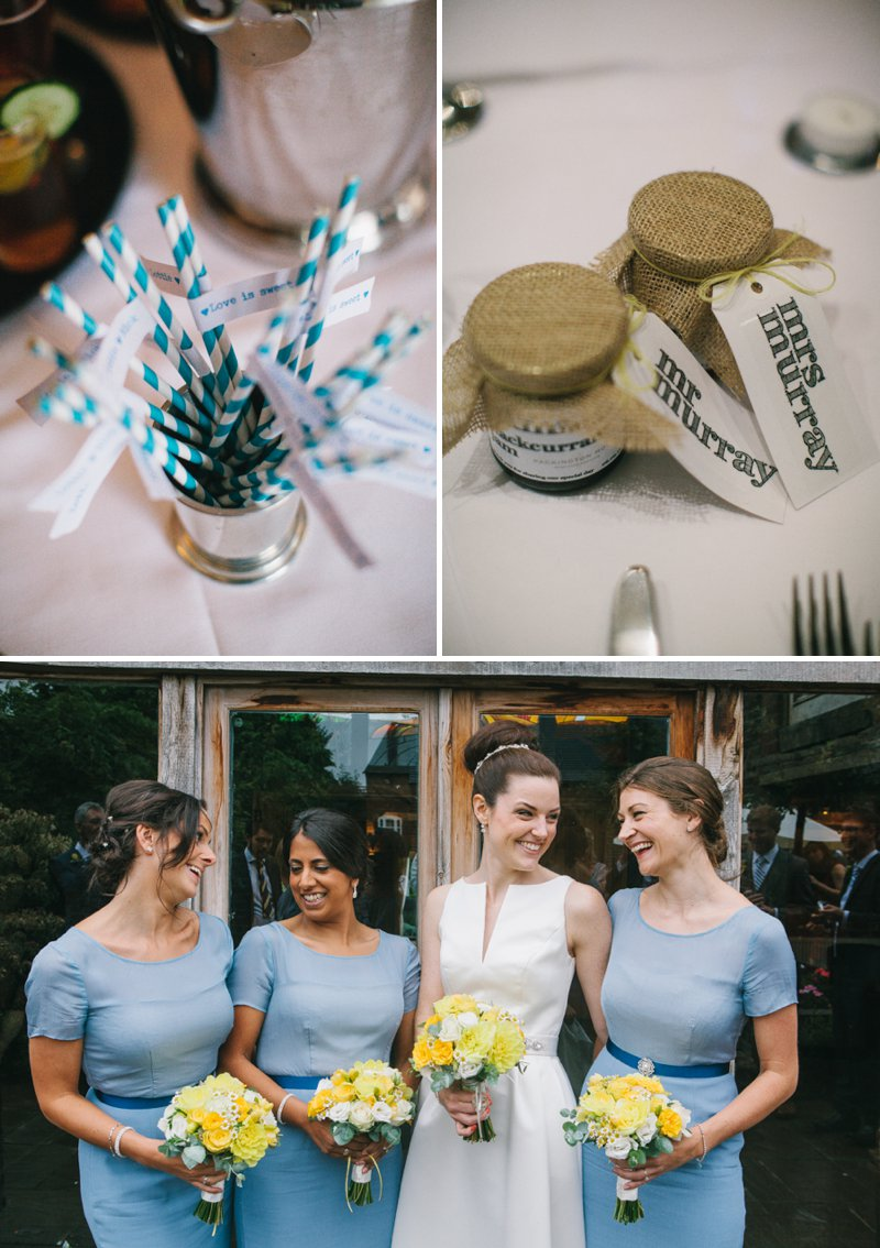 A Barn Wedding In Lichfield With Bride In Jesus Peiro Gown With Pockets And Groom In Bespoke Suit From King And Allen And Bridesmaids In Blue Structured Dresses From Reiss With A Neutral Colour Scheme 1