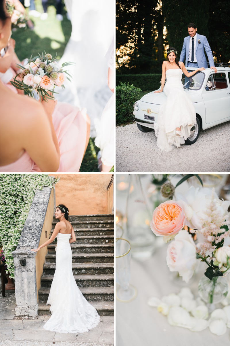 A Beautiful Italian Destination Wedding At Villa Di Ulignano With A Pronovias Dress And A Flower Wreath And A Rose Bouquet By Lisa Poggi Photography._0010