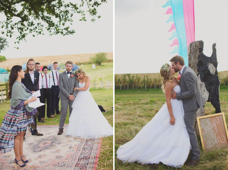 A Glastonbury Themed Bohemian Wedding In Worcestershire With Yurts, Glamping, Food Vans And A Bonfire And Bride In A Floral Crown With Images From Camera Hannah And Event Planning By Jessie Thomson 2