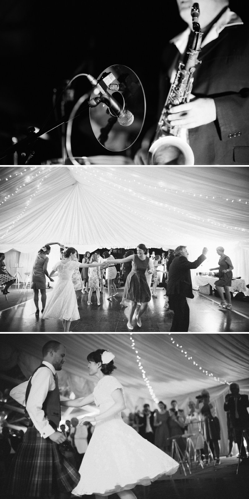A Marquee Wedding In Buckinghamshire With A Country Fete Theme With Bride In Vintage Tea Length Dress From Heavenly Vintage Brides And Groom In Douglas Tartan Kilt Images Shot On Film By Peachey Photography 11