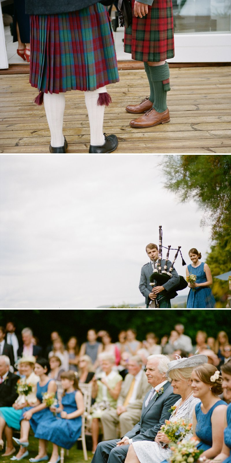 A Marquee Wedding In Buckinghamshire With A Country Fete Theme With Bride In Vintage Tea Length Dress From Heavenly Vintage Brides And Groom In Douglas Tartan Kilt Images Shot On Film By Peachey Photography 4