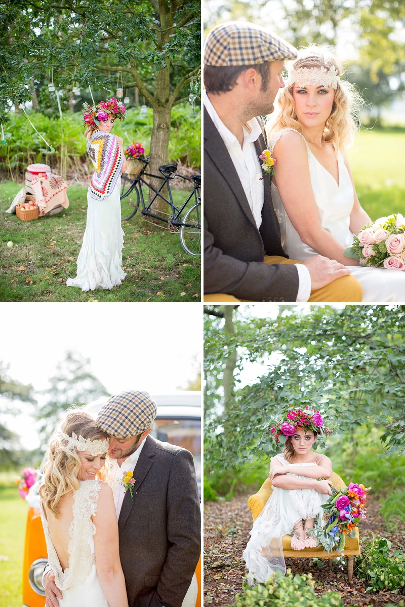 A bohemian style wedding with a fresh flower crown backless dress a bohemian wedding inspiration feature with a fresh flower crown backless dress and cute retro camper izmirmasajfo