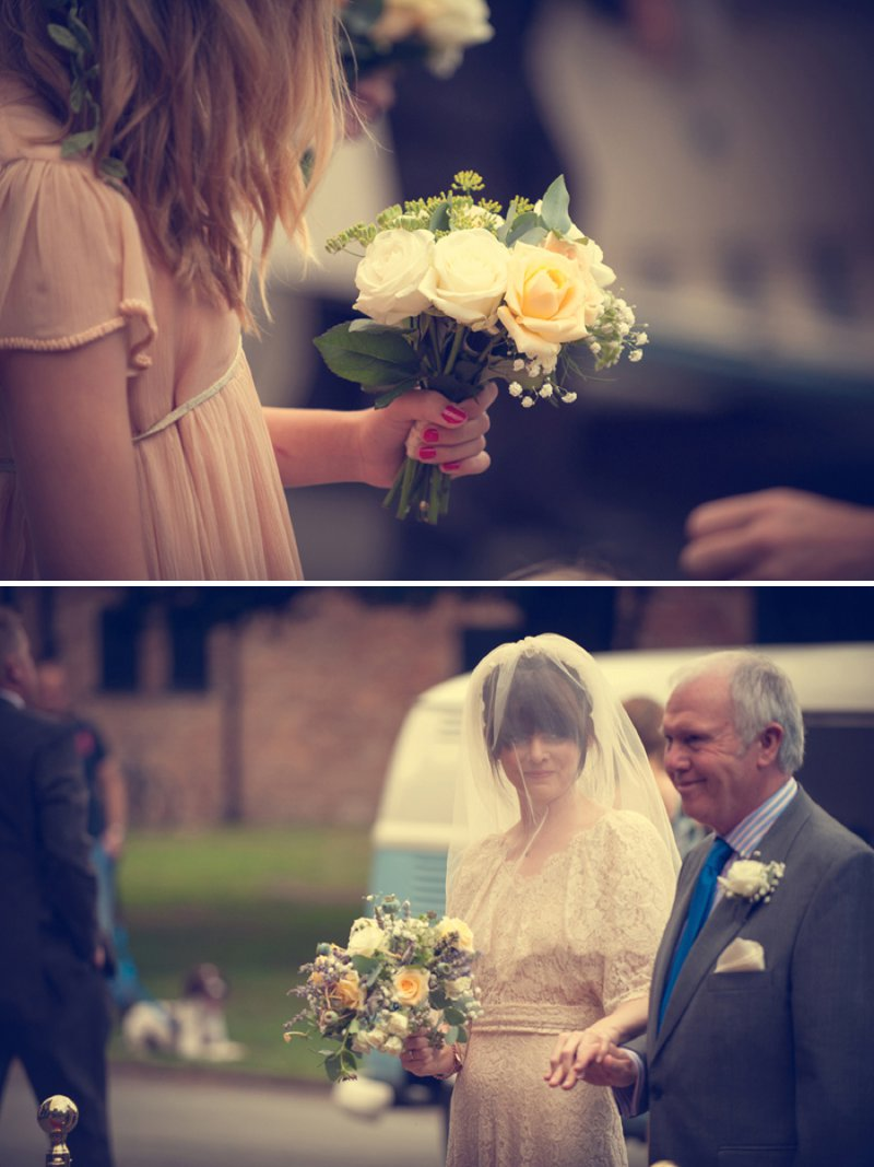 A 70s Inspired Wedding With A Pastel Colour Scheme And Bride In Vintage Lace Dress Found On Ebay And Groom In Navy Three Piece Suit By Paul Smith With Images From Steve Longbottom Mr Sleeve Wedding Photography 5