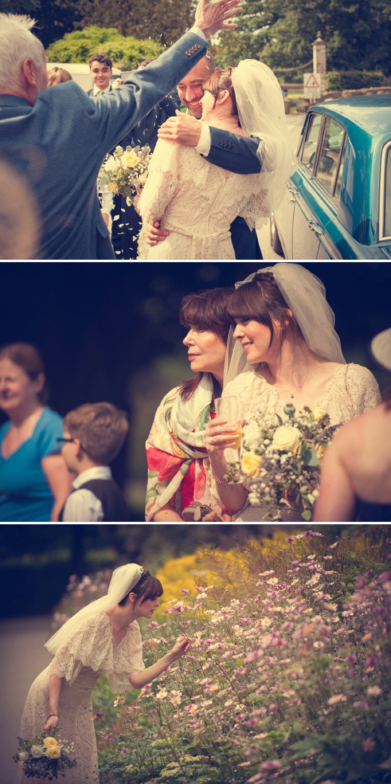 A 70s Inspired Wedding With A Pastel Colour Scheme And Bride In Vintage Lace Dress Found On Ebay And Groom In Navy Three Piece Suit By Paul Smith With Images From Steve Longbottom Mr Sleeve Wedding Photography 8