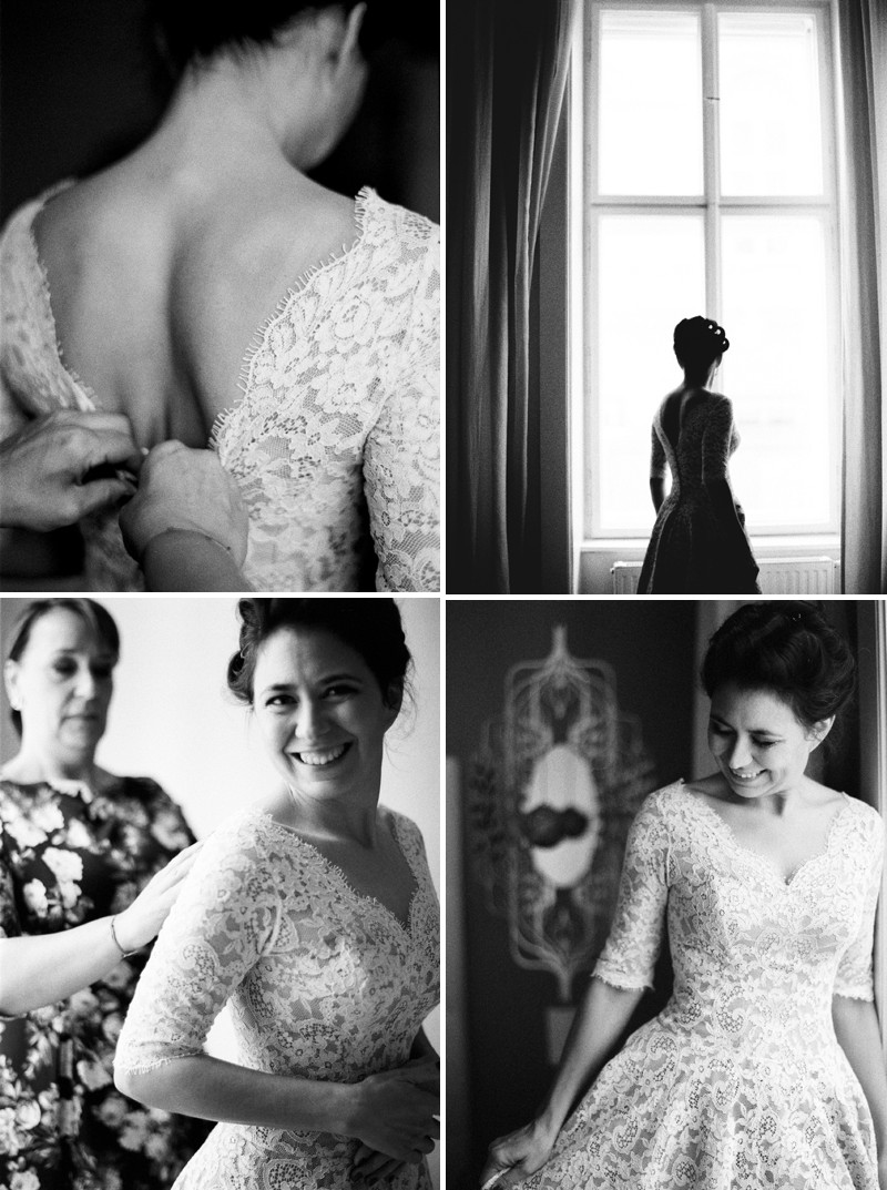 A Luxury And Intimate 1950s Style Autumn Wedding In Vienna With A Lena Hoschek Dress And Mink Stole And A Ranunculus Bouquet Photographed By Peaches & Mint._0002