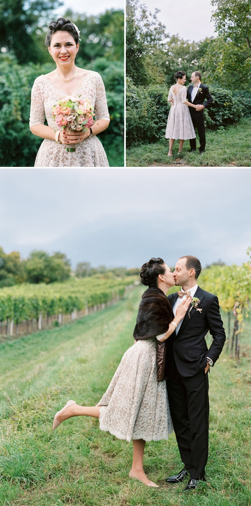 A Luxury And Intimate 1950s Style Autumn Wedding In Vienna With A Lena Hoschek Dress And Mink Stole And A Ranunculus Bouquet Photographed By Peaches & Mint._0010