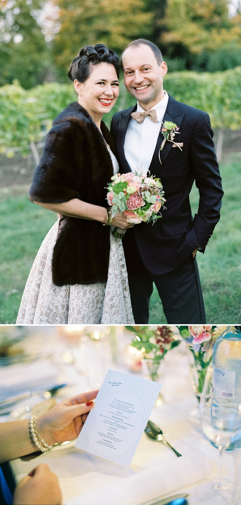 A Luxury And Intimate 1950s Style Autumn Wedding In Vienna With A Lena Hoschek Dress And Mink Stole And A Ranunculus Bouquet Photographed By Peaches & Mint._0011