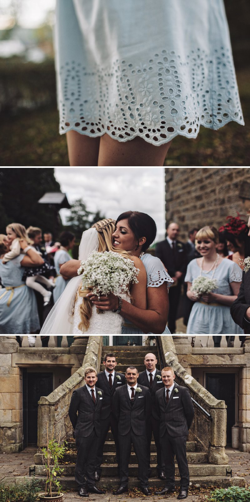 A Rustic Village Hall Wedding With A Blue And Gold Colour Scheme And Stag Graphic Across The Stationery With Bride In Bespoke Dress By Chic Dress And Groom In Brown Suit With Bridesmaids In Baby Blue Dresses With Broderie Anglaise Detail 5