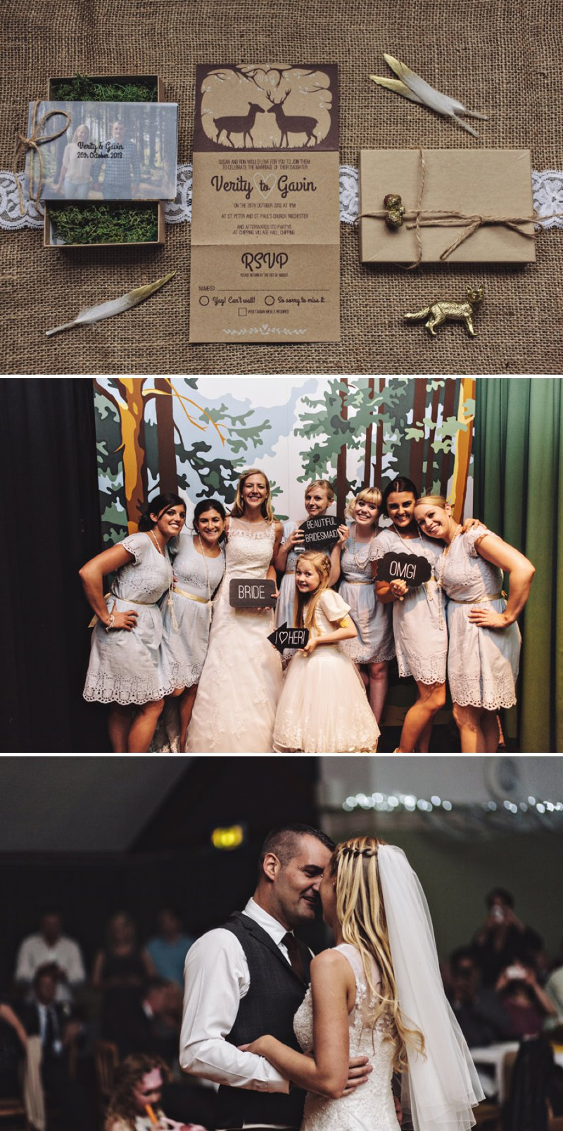 A Rustic Village Hall Wedding With A Blue And Gold Colour Scheme And Stag Graphic Across The Stationery With Bride In Bespoke Dress By Chic Dress And Groom In Brown Suit With Bridesmaids In Baby Blue Dresses With Broderie Anglaise Detail 9