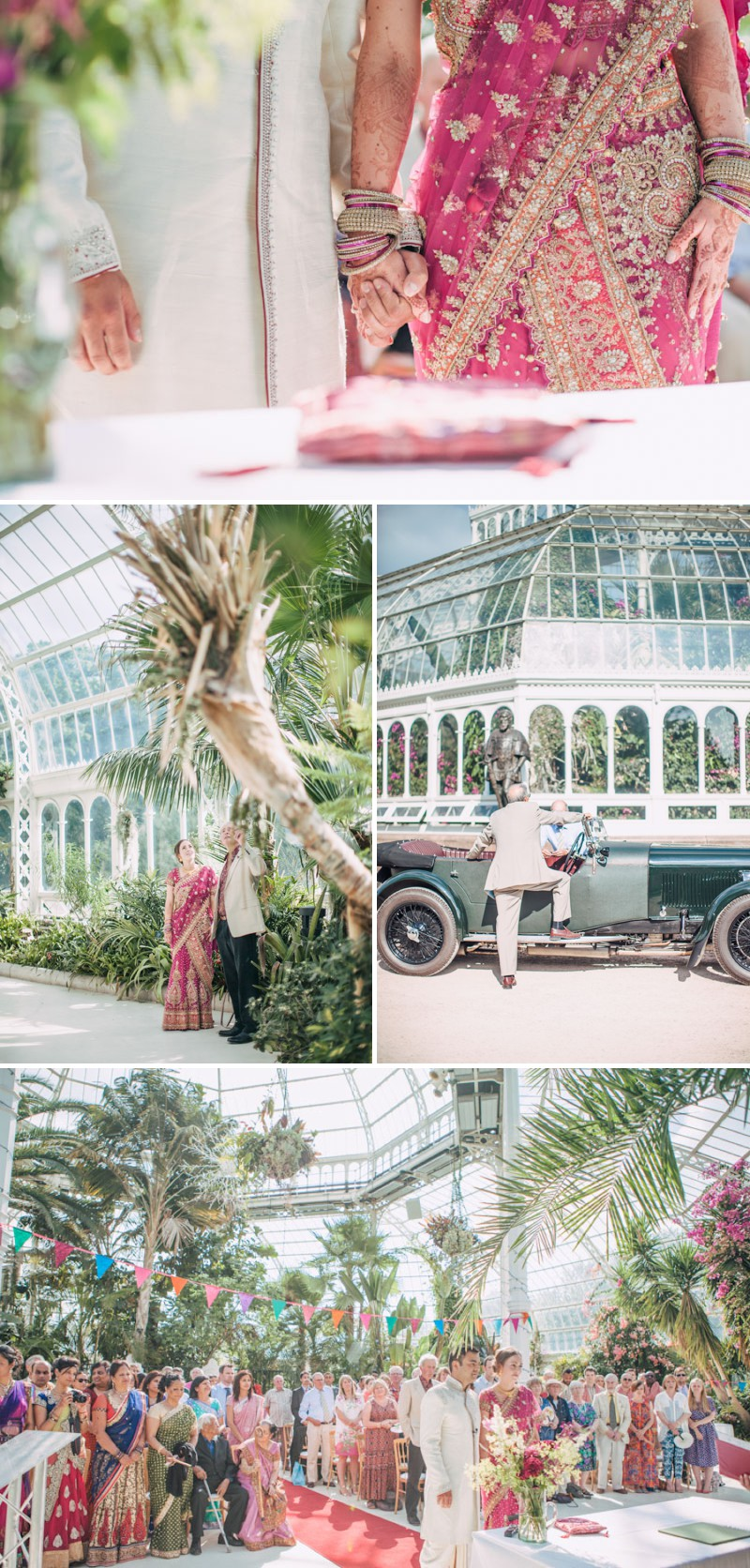 An Exotic Indian and English Fusion Wedding At Sefton Park Palm House In Liverpool With A Beautiful Vintage Lagonda And A Pink Handpicked Bouquet By Wookie Photography._0005