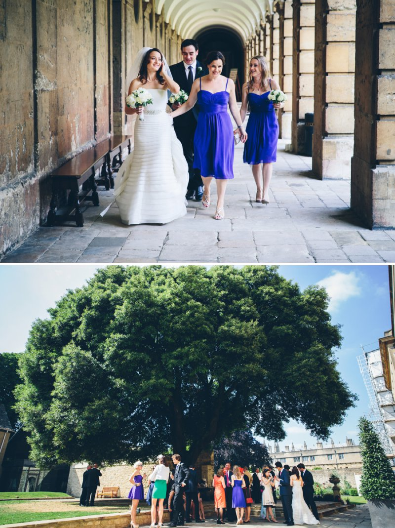 Elegant Contemporary Wedding At The Bodleian Library Queens College Oxford With Bride In Ulanova By Pronovias And Jimmy Choo Heels With Groom In Suit By Cad And The Dandy And Bridesmaids In Royal Blue Images By Mister Phill 7