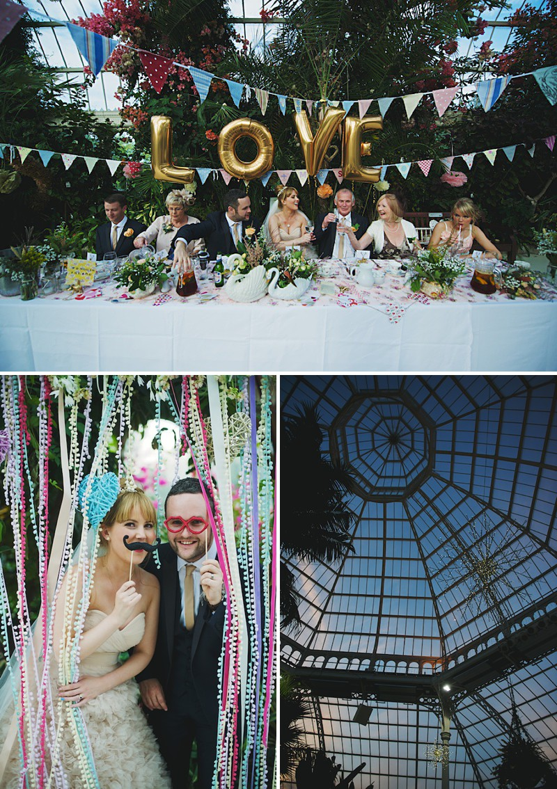 A Bright contemporary wedding with lots of DIY and pastel pink wedding gown. Photography by  Nicola Thompson Photography at Sefton Park Palm House_0013