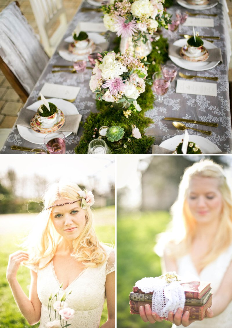 A Romantic And Whimsical Bridal Inspiration Shoot With Johanna Hehir Gowns And Victoria Millesime Accessories With Stationery By Artcadia And Flowers By Boutique Blooms Images From Anneli Marinovich 2