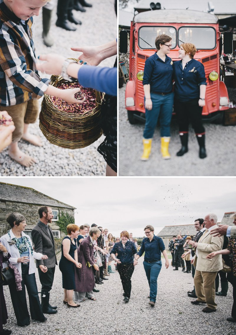 Rustic Same Sex Wedding At Roselidden Farm Cornwall With Both Brides In Navy Shirts From Liberty London And A Ceremony In A Yurt With Vintage Crockery And Locally Sourced Food Photography By Helen Lisk 4