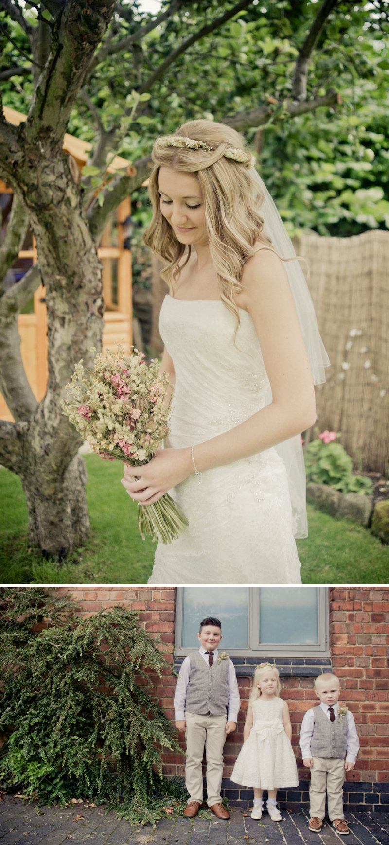 Rustic Wedding At Newton House In Derbyshire With Bride In Sophia Tolli Gown With A Dried Flower Headpiece From The Artisan Dried Flower Co And Groom In Tweed Waistcoat With Images From Jake Morley 2