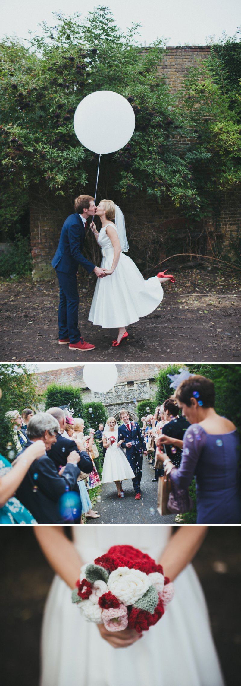 Vintage Inspired DIY Wedding At Kingston Village Hall With Bride In 50s Style Tea Length Gown And Groom In Topman Suit With Red Shoes And Knitted Bouquets Ties And Corsages With Fete Games And A Coconut Shy 1 The Family Tree.
