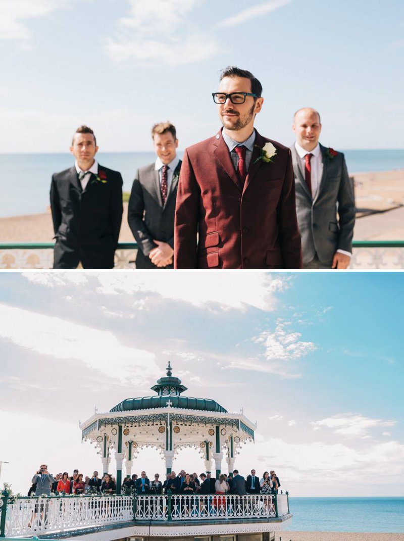 50s Mod Inspired Wedding With An Outdoor Ceremony At Brighton Bandstand And Reception At Stanmer House With Bride In Candy Anthony Gown And Red Irregular Choice Shoes With Groom In Burgundy Suit 3