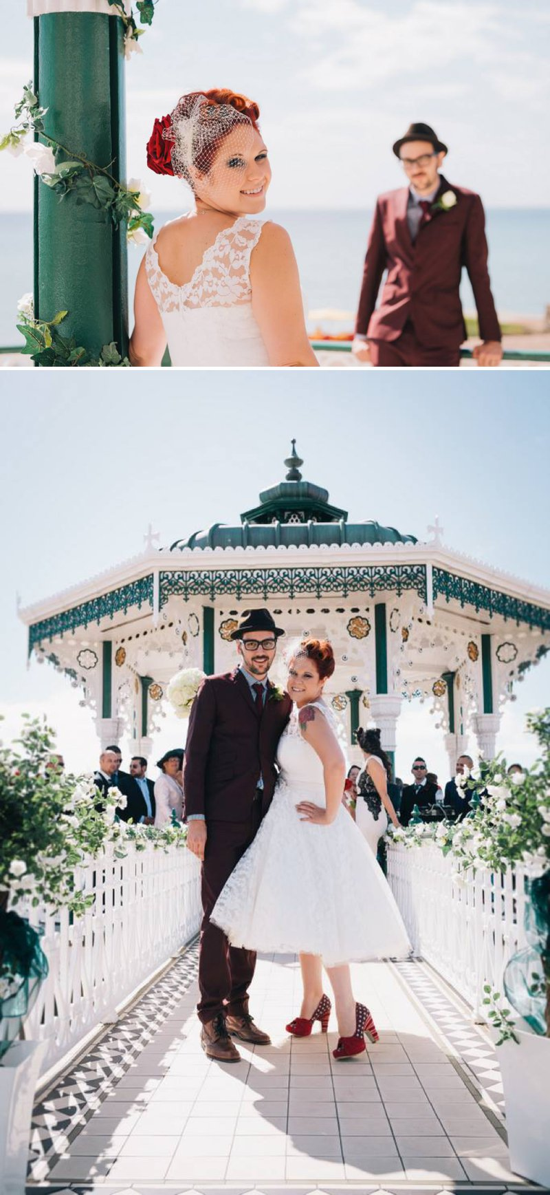 50s Mod Inspired Wedding With An Outdoor Ceremony At Brighton Bandstand And Reception At Stanmer House With Bride In Candy Anthony Gown And Red Irregular Choice Shoes With Groom In Burgundy Suit 5