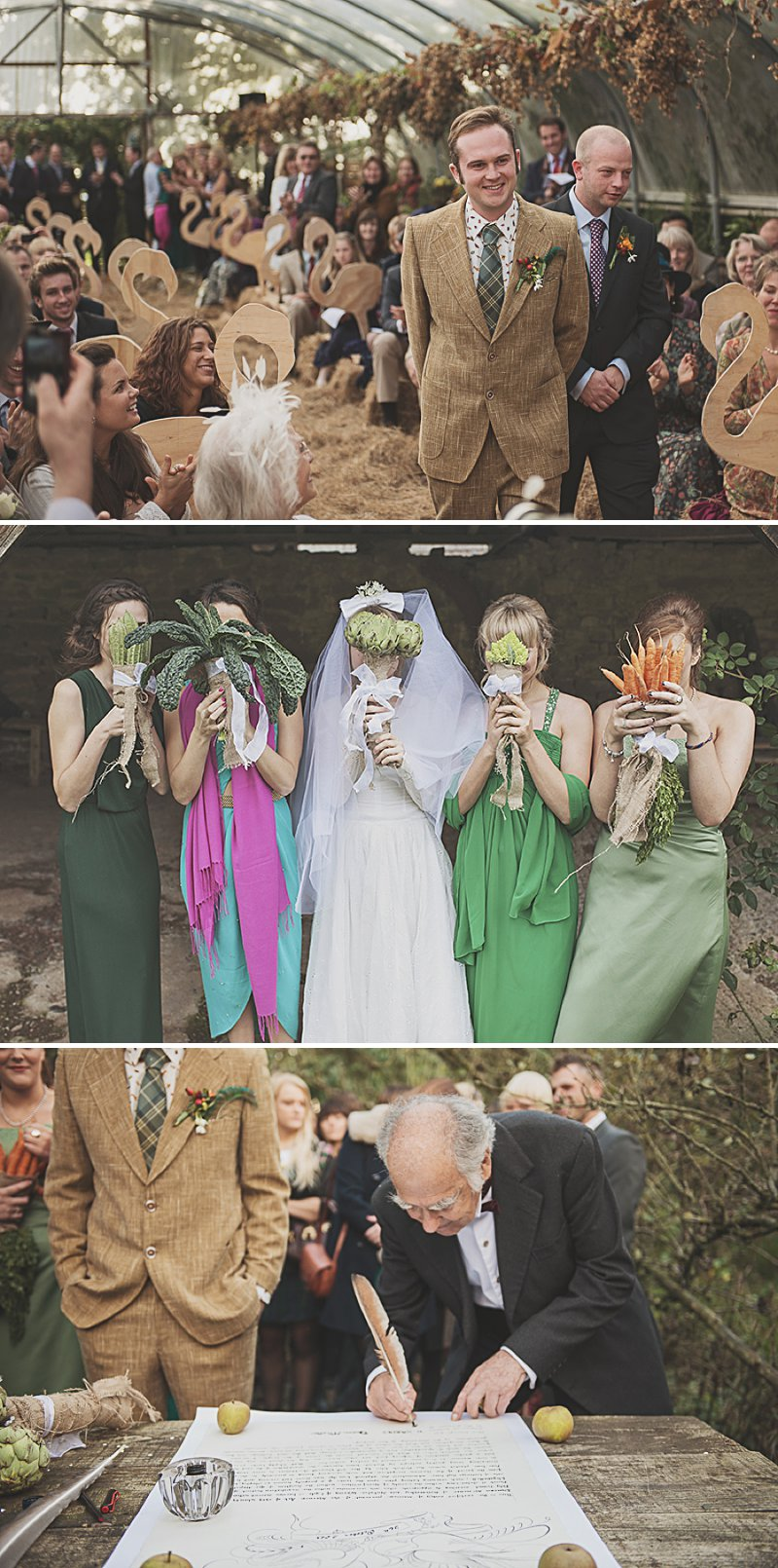 A DIY Wedding with homemade flowers, flamingo art, a polytunnel ceremony, apples, pumpkins, vintage dress and suit and vegetable bouquets.  Apple sharing ceremony at home with photography by Camilla Rosa_0001