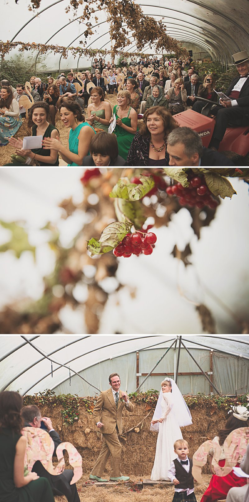 A DIY Wedding with homemade flowers, flamingo art, a polytunnel ceremony, apples, pumpkins, vintage dress and suit and vegetable bouquets.  Apple sharing ceremony at home with photography by Camilla Rosa_0007