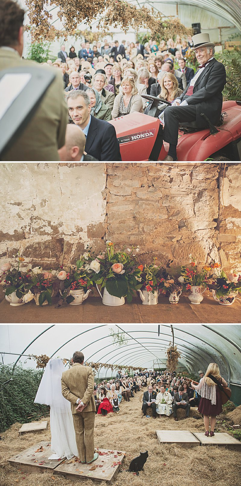 A DIY Wedding with homemade flowers, flamingo art, a polytunnel ceremony, apples, pumpkins, vintage dress and suit and vegetable bouquets.  Apple sharing ceremony at home with photography by Camilla Rosa_0009