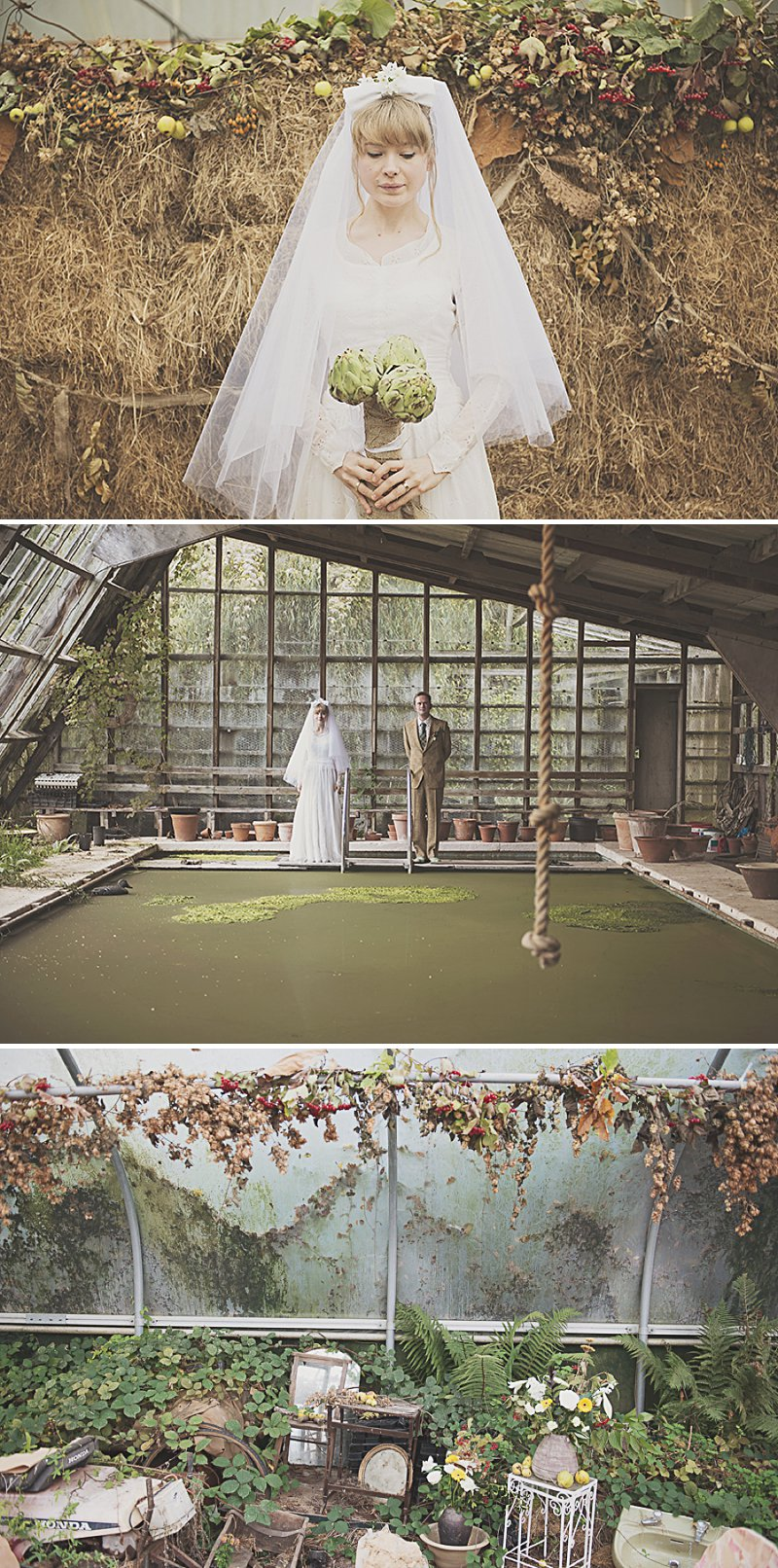 A DIY Wedding with homemade flowers, flamingo art, a polytunnel ceremony, apples, pumpkins, vintage dress and suit and vegetable bouquets.  Apple sharing ceremony at home with photography by Camilla Rosa_0011