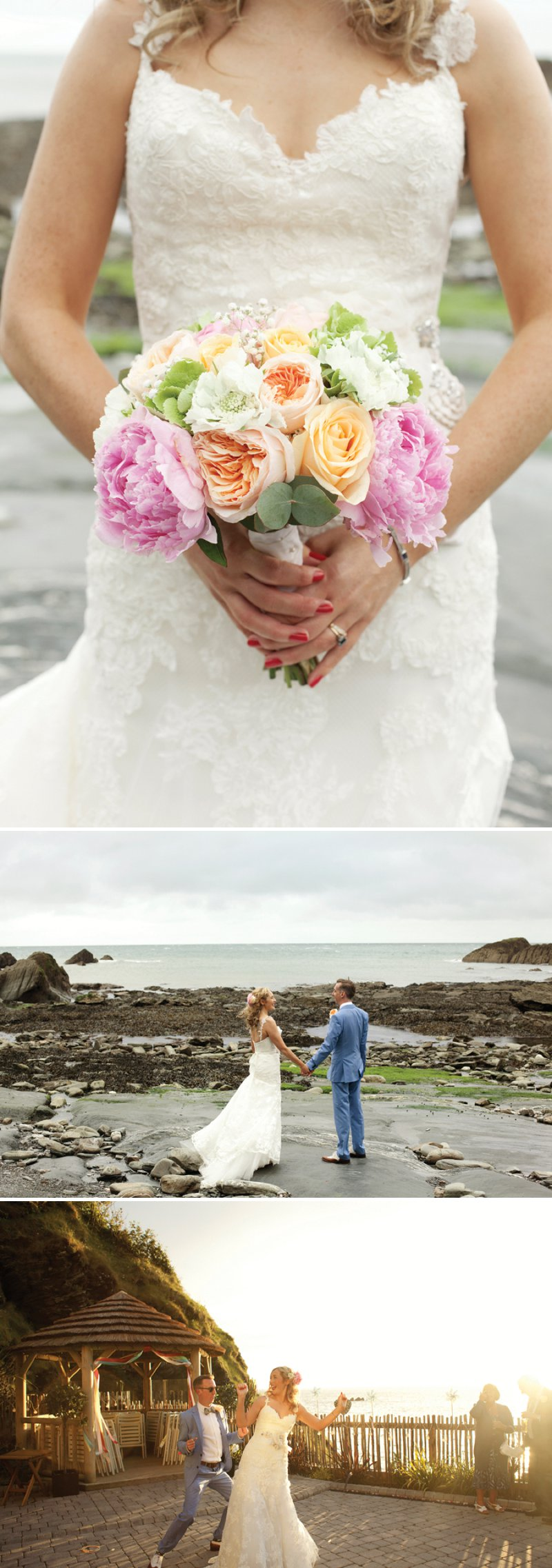 A Fun Filled Wedding At Tunnels Beaches Devon With An Outdoor Ceremony And Bride In Diana By Enzoani With Groom In Light Blue Suit And Bridesmaids In Red Candy Striped Dresses From Jack Wills 1 The Rainbow Connection.