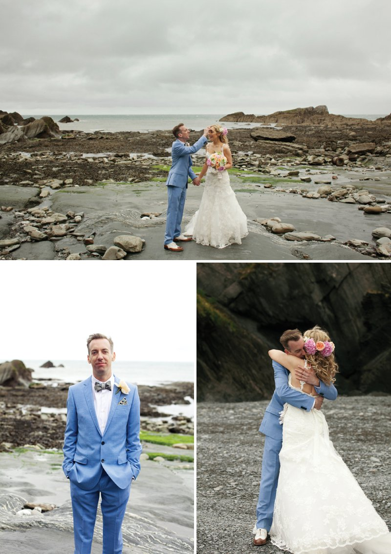 A Fun Filled Wedding At Tunnels Beaches Devon With An Outdoor Ceremony And Bride In Diana