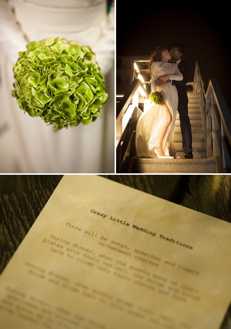 An Edgy And Urban London Wedding Full Of Danish Wedding Traditions At Dock Kitchen With A David Andersen Dress And A Hydrangea Bouquet Photographed By Plenty To Declare._0007