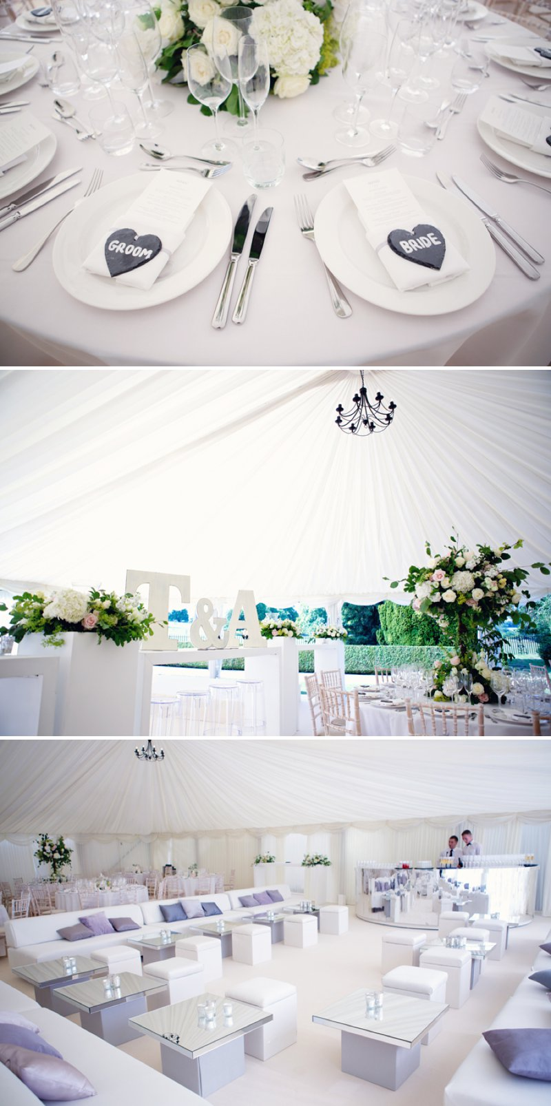 Glamorous Marquee Wedding At The Wimpole Estate In Cambridgeshire With Bride In Monique L'Huillier Gown And Jimmy Choo Sandals With Groom In Morning Suit And Red Velvet Hummingbird Bakery Cake And Images From Lydia Stamps Photography 5
