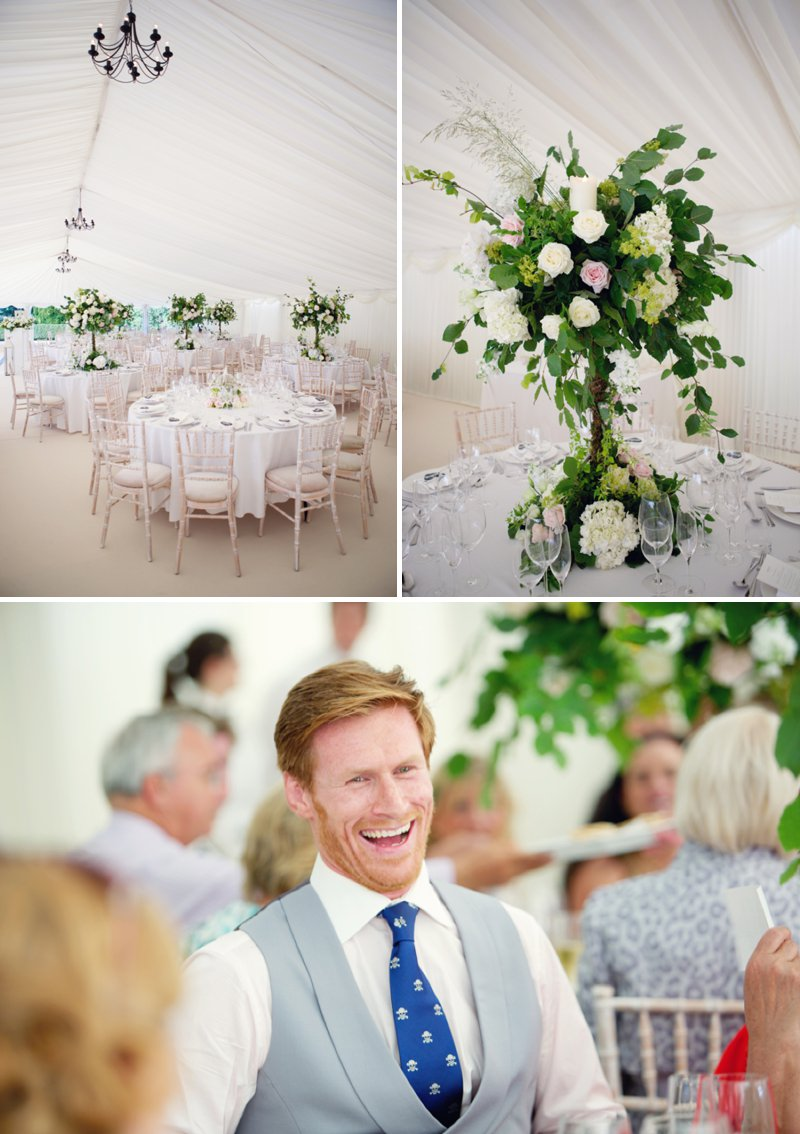 Glamorous Marquee Wedding At The Wimpole Estate In Cambridgeshire With Bride In Monique L'Huillier Gown And Jimmy Choo Sandals With Groom In Morning Suit And Red Velvet Hummingbird Bakery Cake And Images From Lydia Stamps Photography 8