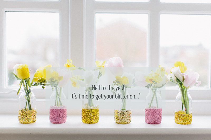How To Create A Golden Glittery Bud Vase For Your Wedding Table