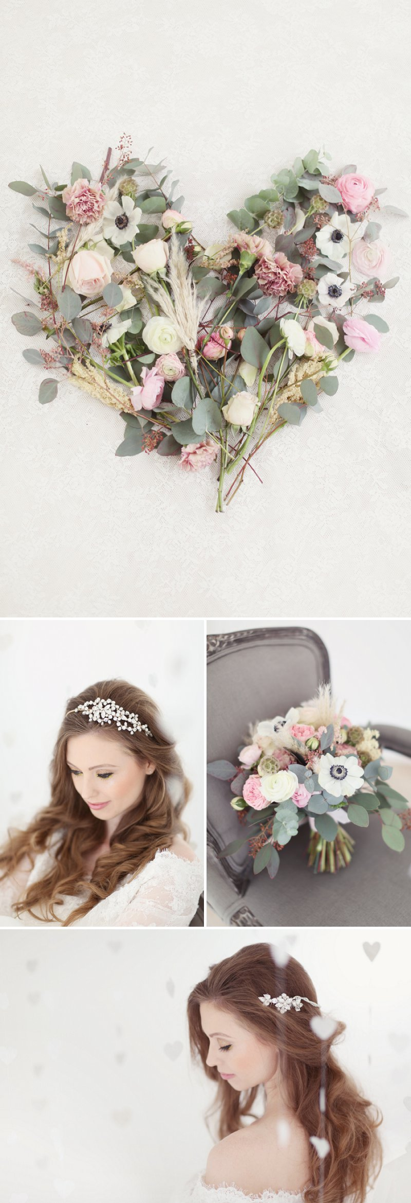 Pastel Valentines Day Inspired Bridal Shoot Featuring Hair Accessories From Corrine Smith Design With Flowers From I Heart Flowers And Images By Eva Sanders Photography 1 Pale Valentine.