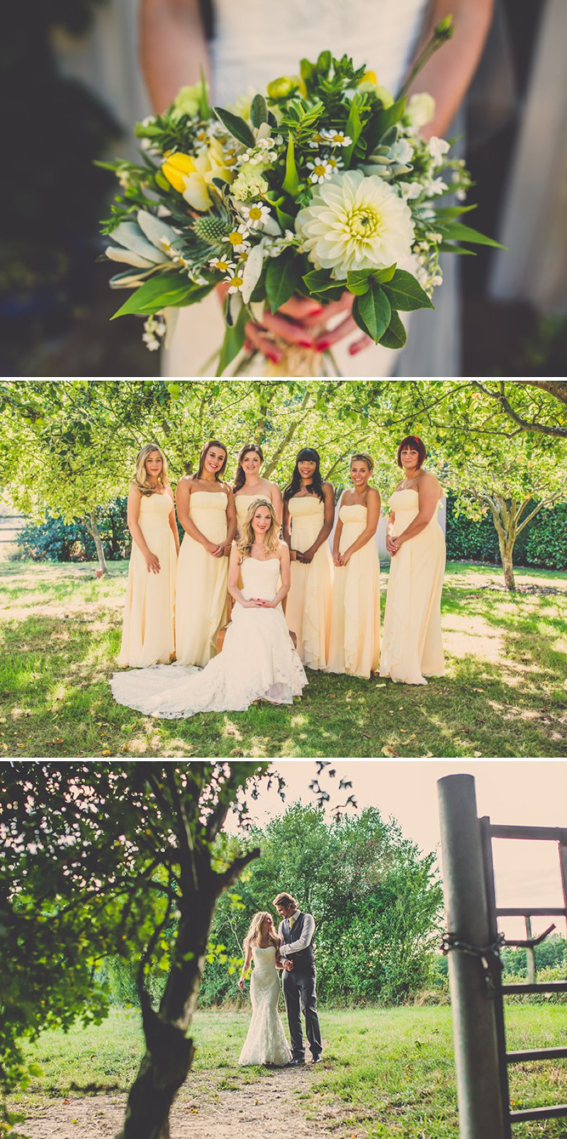 Pretty Back Garden Wedding In Hampshire With Bride In Blue By Enzoani Gown And Nude Carvela Shoes With Wild Daisies And Bridesmaids In Pale Yellow Gowns And Groom In Grey 1 Yellow Daisies For A Pretty Summer Wedding.