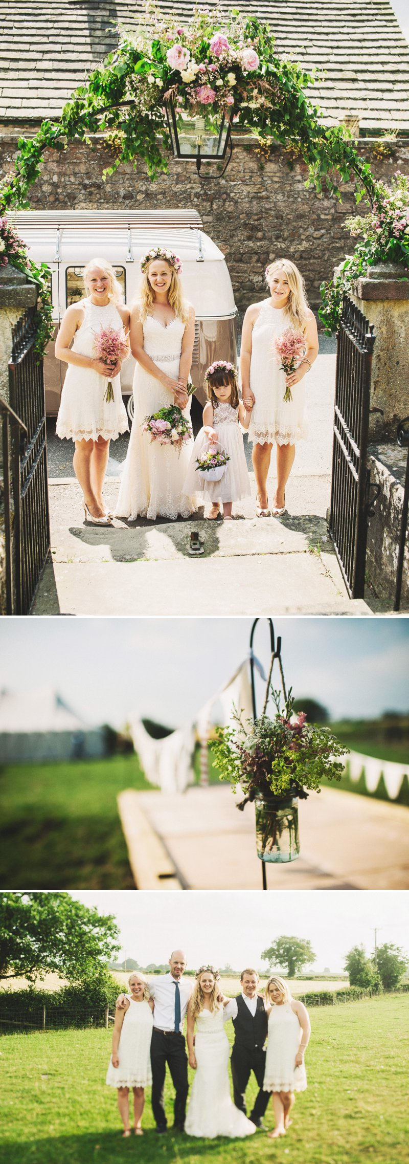 Rustic Marquee Wedding At Mallard Grange In Yorkshire With A Dusty Pink, Cream And Grey Colour Scheme With Bride In Gown From Eternity Bridal With A Vintage VW Camper Van 1