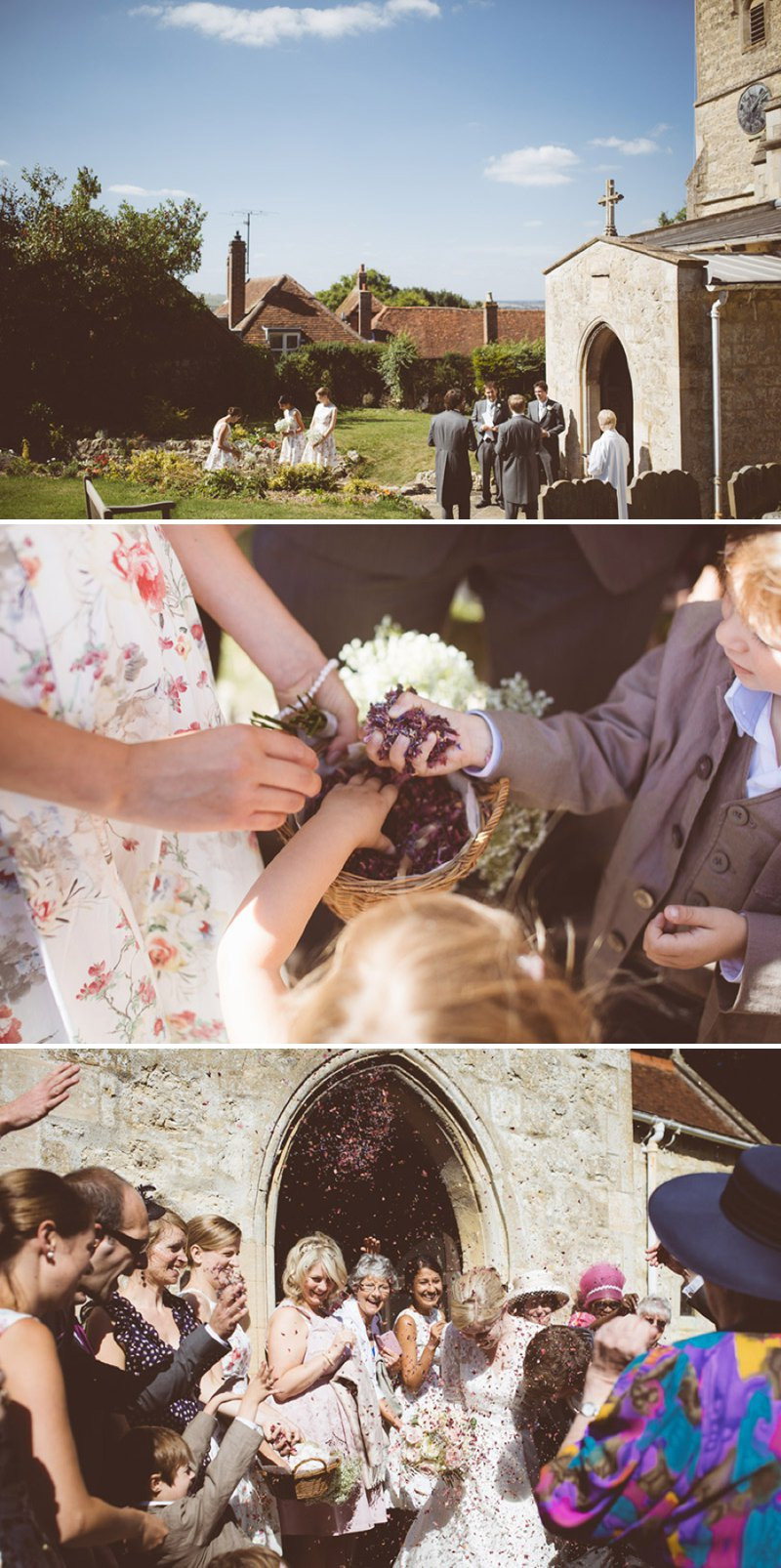 Rustic Wedding At Creslow Manor With Bride In Lace Paloma Blanca Gown With Groom In Morning Dress And Bridesmaids In Floral Print Dresses And Roses And Gypsophila In Bouquets Images By Joseph Hall 6