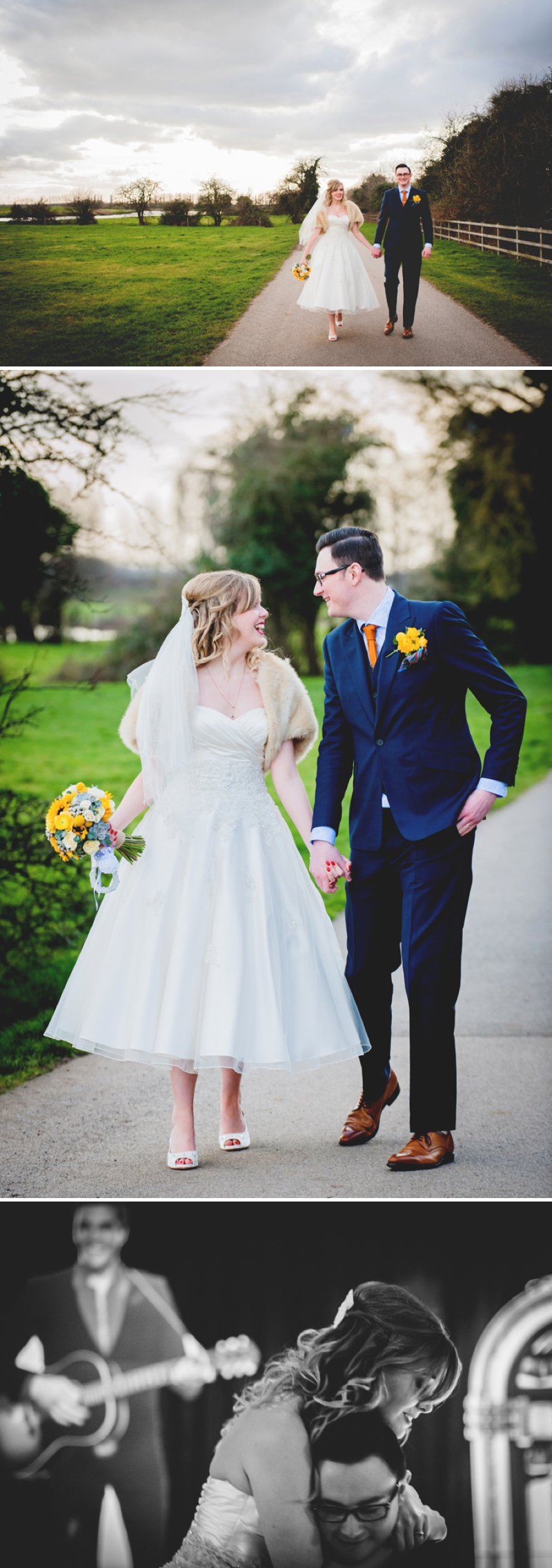 A 50s Inspired Wedding At Burton Joyce Village Hall With Yellow And Grey Colour Accents And Bride In A Tea Length Gown By Sincerity Bridal With Groom In Reiss And Bridesmaids In Butterfly Print Dresses 11