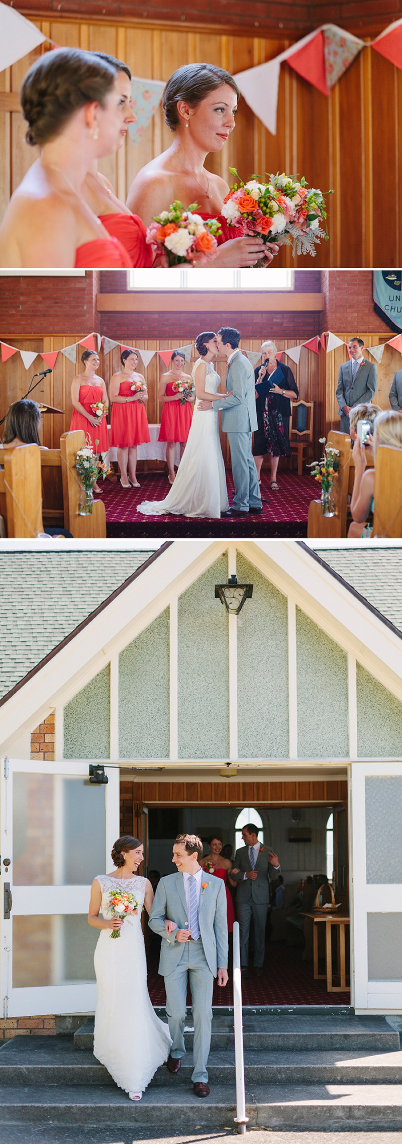 A bright fun and happy wedding in new zealand with coral red fun and happy wedding in new zealand with coral red bridesmaid dresses and ombrellifo Gallery