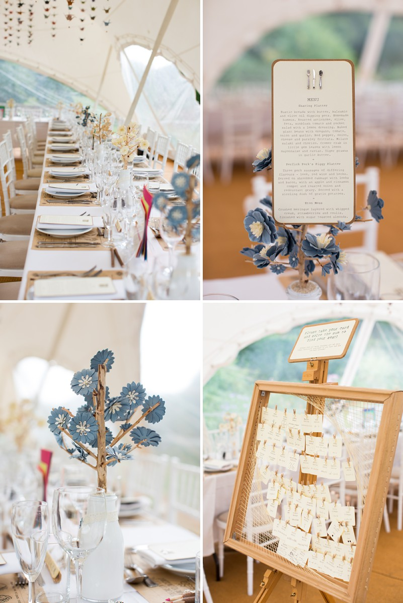 A Romantic Wedding At Chaucer Barn With A Blue Origami Cranes Theme ...