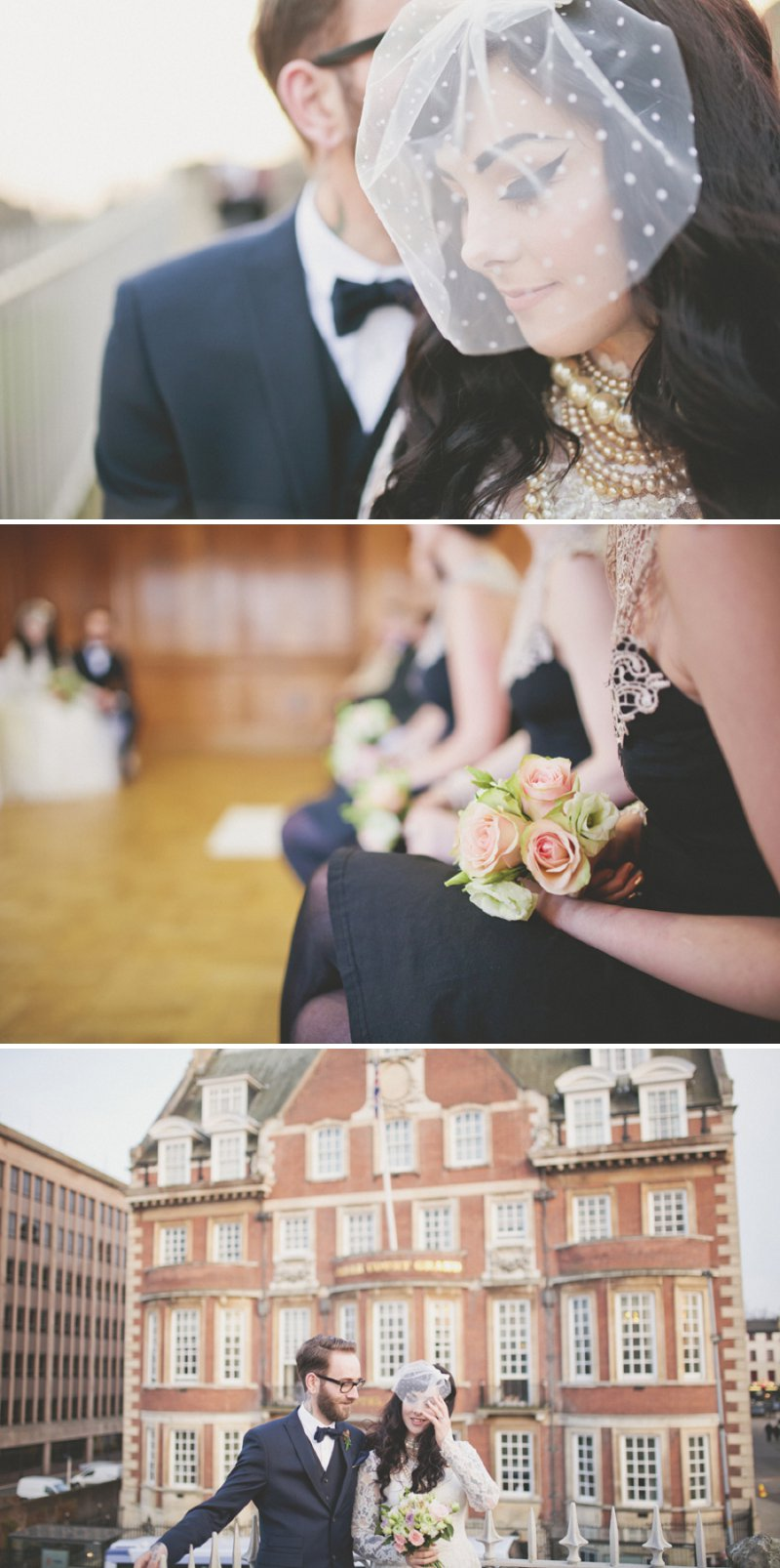 Vintage Emporium Style Wedding At Cedar Court Grand York With Bride In Vintage Gown From Glory Days York And Vintage Pearls And Groom In 20s Style Five Piece Suit With Bridesmaids In Black And White Lace Dresses From New Look 1
