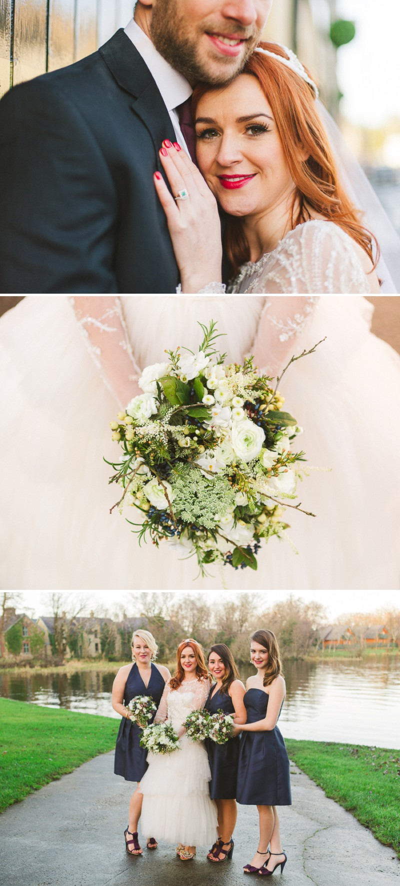 A New Year's Eve Winter Wedding With A Vintage Tulle Dress And Golden Gucci Shoes On Lusty Beg Island In Ireland With Blue Bridesmaid BHLDN Dresses By Sharon Kee Photography._0008