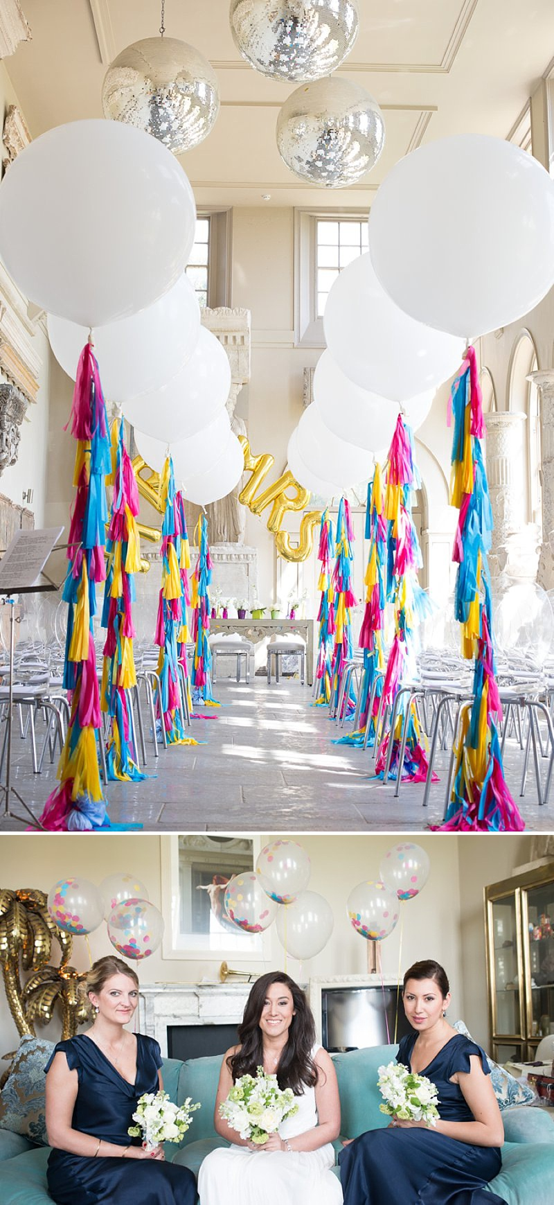 A gatsby themed wedding at Aynhoe Park with navy bridesmaids and bright balloons_0138