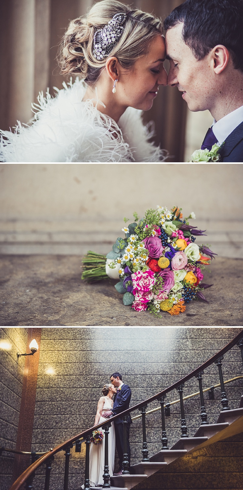 A modern wedding in Liverpool with a bride in Jenny Packham Crystal and Acacia I headpiece and bright flowers colour scheme_0124