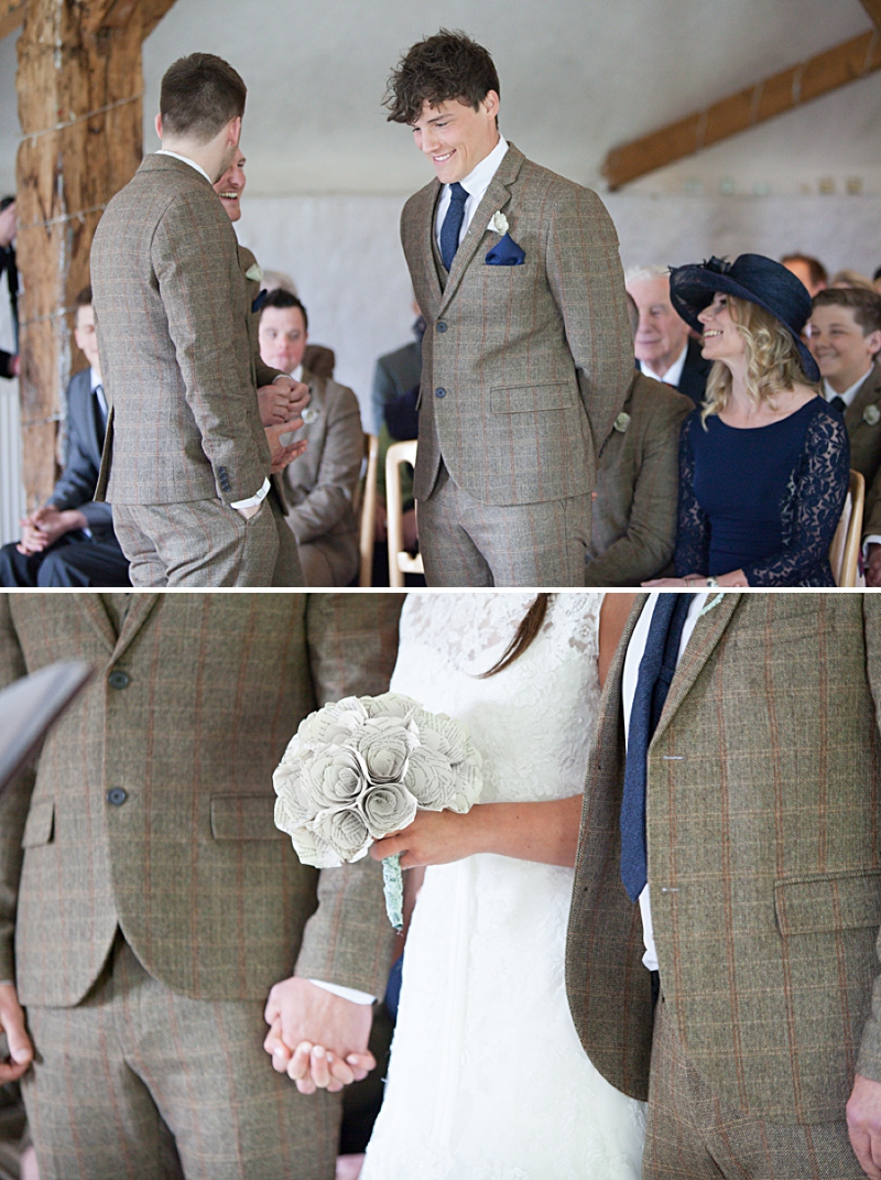 A rustic wedding with a blue colour scheme, bride in Maggie Sottero and groom wearing tweed from Topman. Hand made paper flowers made from fifty shades of grey pages and photography by Camilla Arnhold_0027
