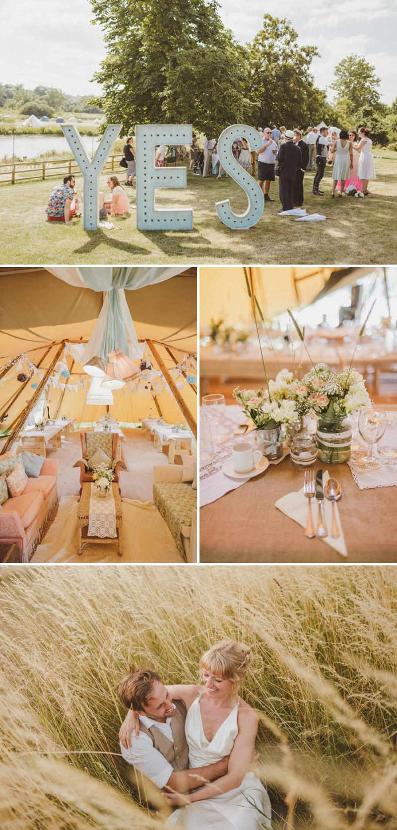 An Epic DIY Bohemian Wedding At Ratfyn Farm With A Jenny Packham Dress And A Humanist Ceremony And A Peach Colour Scheme Photographed By Ed Peers._0007