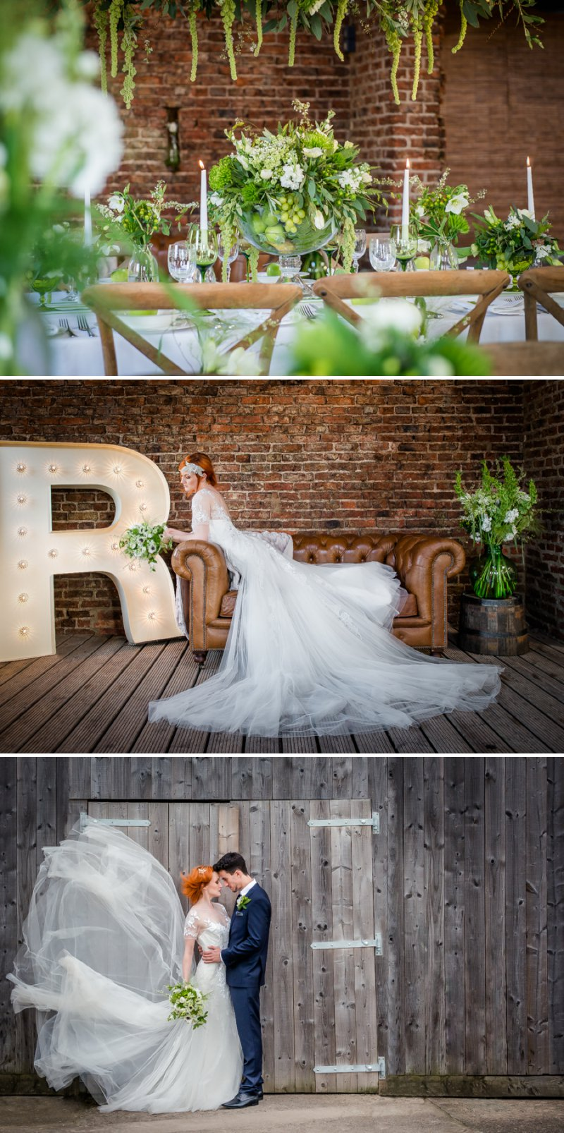 Rustic Glamour Inspired Shoot At York Maze With An Apple Green Colour Scheme Lots of Green Foliage And White Flowers With Images By Dominic Wright Photography 1