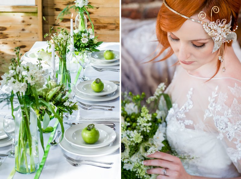 Rustic Glamour Inspired Shoot At York Maze With An Apple Green Colour Scheme Lots of Green Foliage And White Flowers With Images By Dominic Wright Photography 3