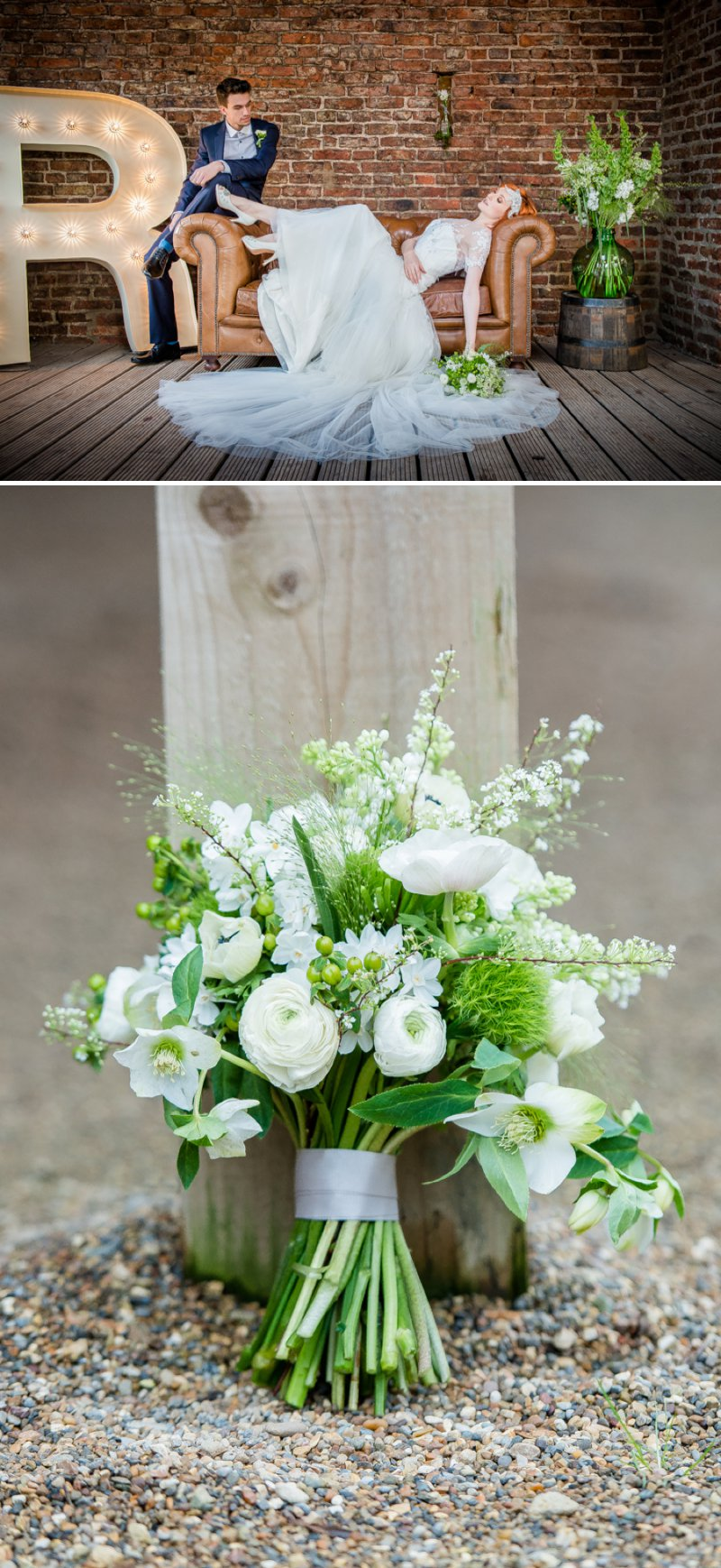 Rustic Glamour Inspired Shoot At York Maze With An Apple Green Colour Scheme Lots of Green Foliage And White Flowers With Images By Dominic Wright Photography 4