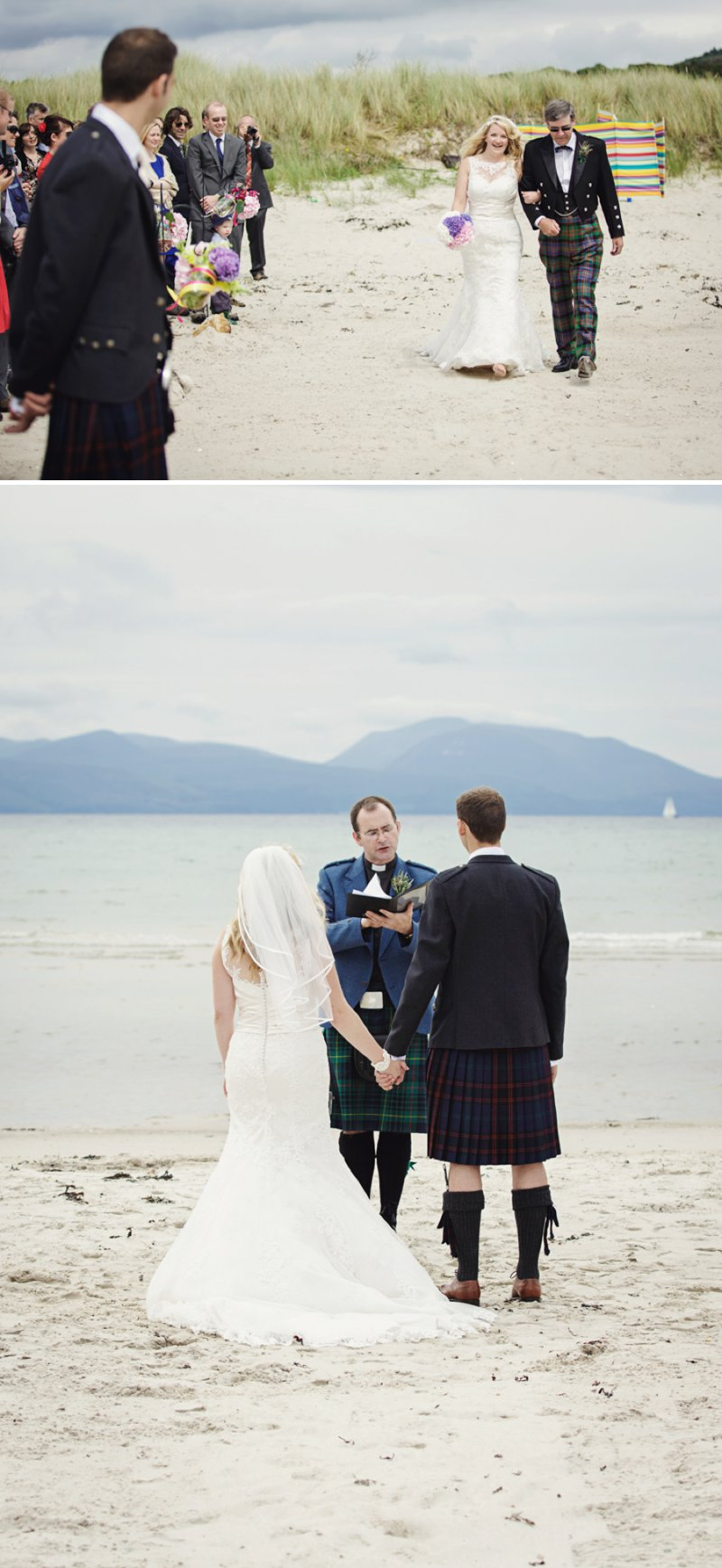 Rustic Scottish Beach Wedding With Bride In Justin Alexander And Vivien Of Holloway And Groom In Kilt With Bridesmaids In 50s Style Gowns With A Traditional Scottish Ceilidh 4
